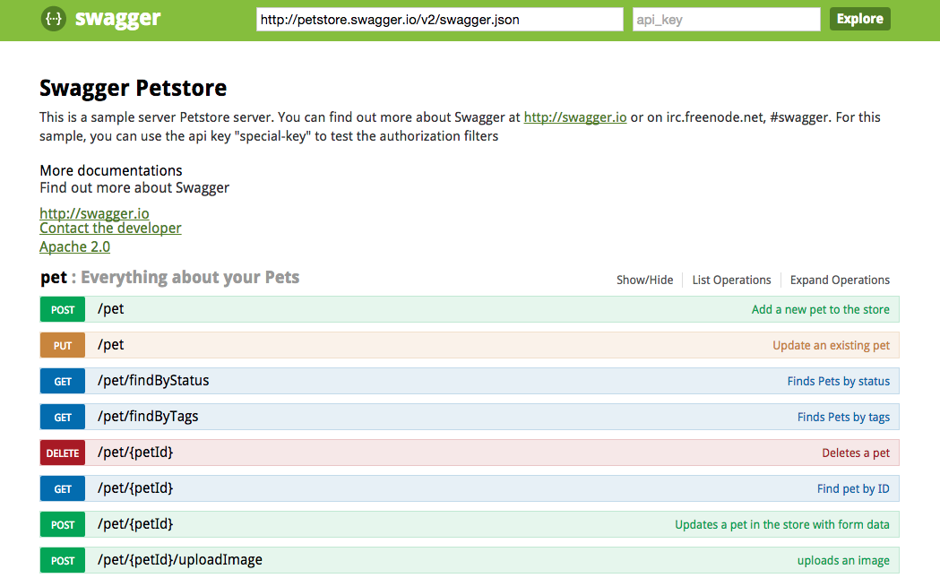 Screenshot of Swagger UI